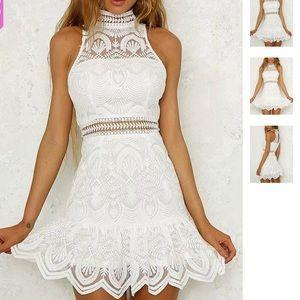 Choies White High Neck Lace Dress